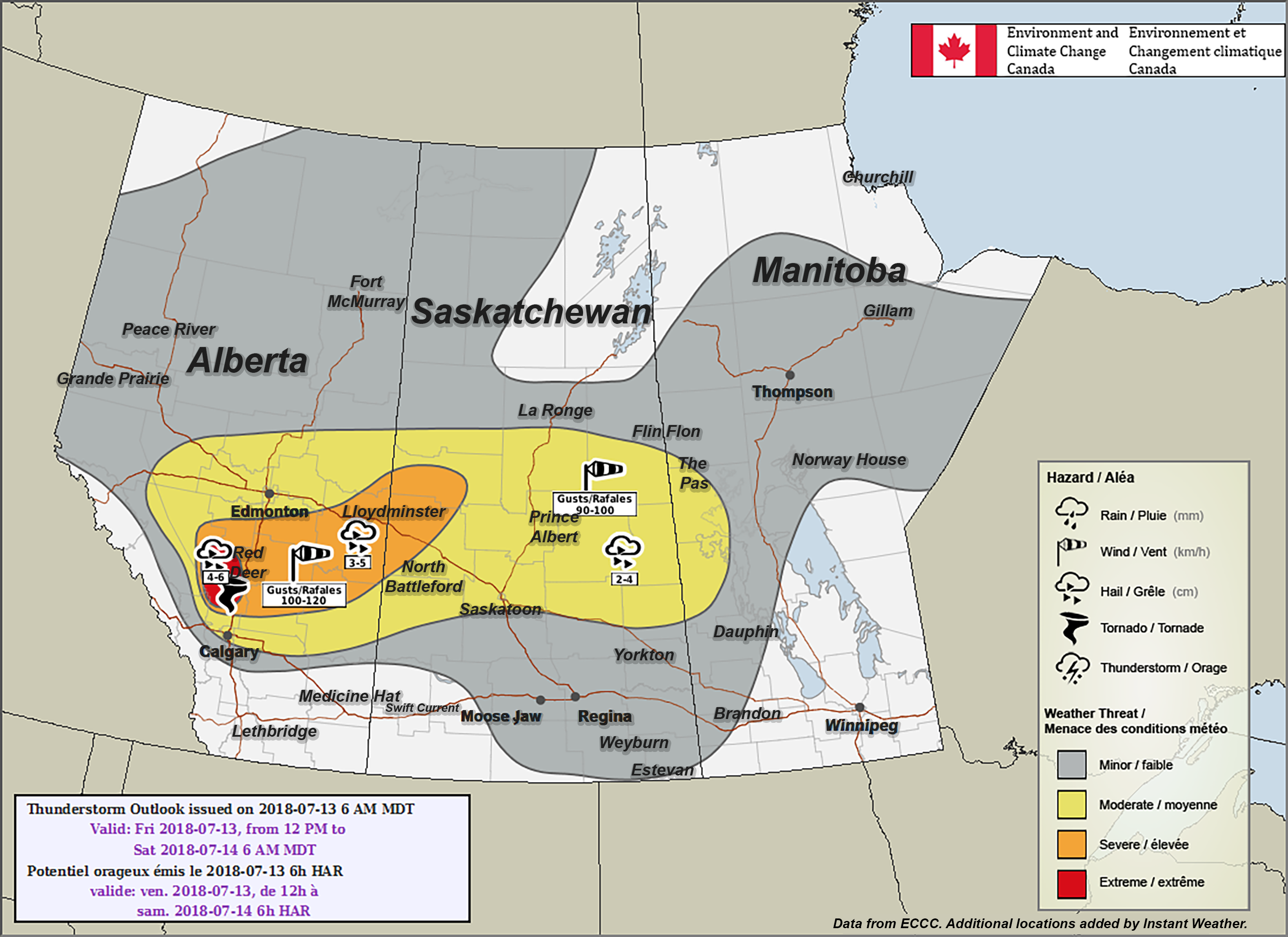 Map Of Canada Today.Extreme Risk Red Added By Environment Canada For Today S Severe