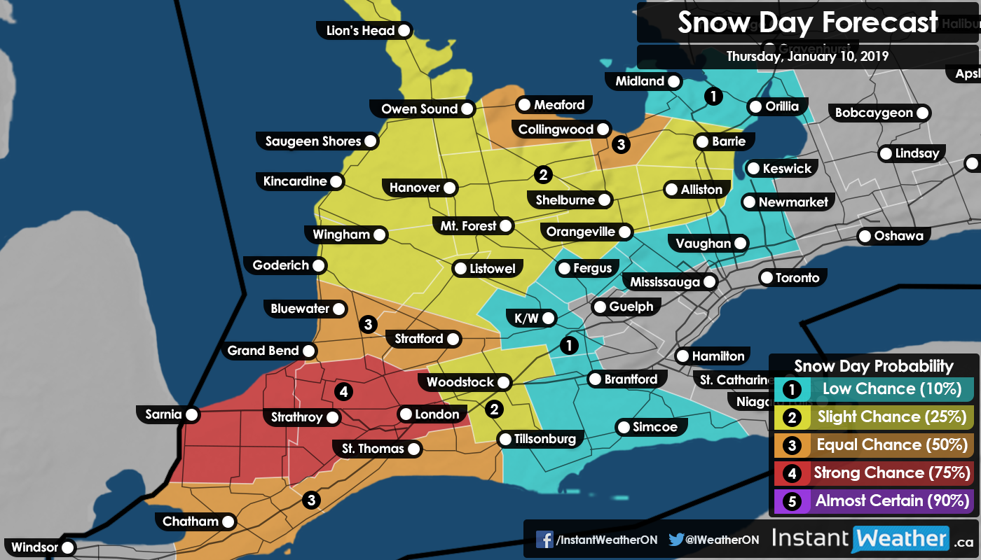 Instant Weather Map Southern Ontario: Snow Day (Bus Cancellation) Forecast for
